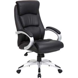 Boss Executive Office Chair with Arms - Leather - High Back - Black