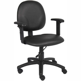 Boss Office Task Chair with Arms - Vinyl- Mid Back - Black