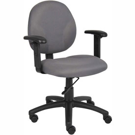 Boss Office Task Chair with Arms - Fabric - Mid Back - Gray
