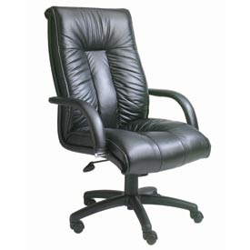Boss Executive Office Chair with Arms - Italian Leather - High Back - Black
