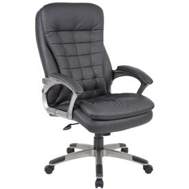 Boss Office Chair with Arms and Pillow Top - Vinyl - High Back - Black