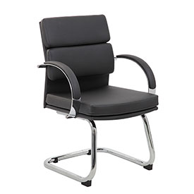Boss Reception Guest Chair - Vinyl - Mid Back - Black