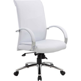 Boss Office Chair with Arms - Vinyl - High Back - White