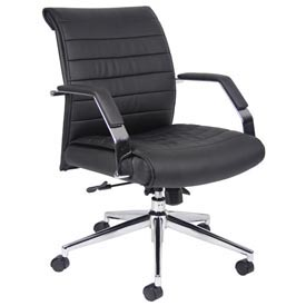 Boss Executive Office Chair with Arms - Vinyl - Mid Back - Black