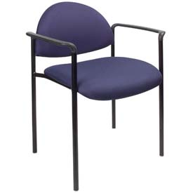 Boss Stacking Guest Chair with Arms - Fabric - Low Back - Blue