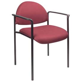 Boss Stacking Guest Chair with Arms - Fabric - Low Back - Burgundy