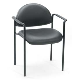 Boss Stacking Guest Chair with Arms - Vinyl - Low Back - Black