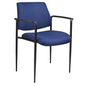 Boss Stacking Guest Chair with Arms - Fabric - Mid Back - Blue