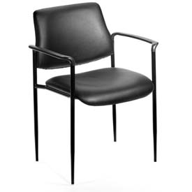 Boss Stacking Guest Chair with Arms - Vinyl - Mid Back - Black