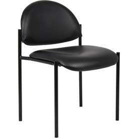 Boss Stacking Guest Chair - Vinyl - Low Back - Black