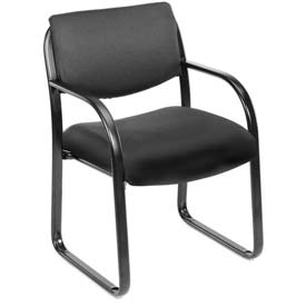 Boss Reception Guest Chair with Arms - Fabric - Black