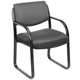 Boss Reception Guest Chair with Lumbar Support - Fabric - Mid Back - Gray