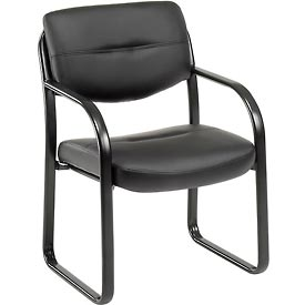 Waiting Room Chair with Arms - Leather - Black