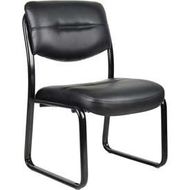 Boss Reception Guest Chair - Leather - Black