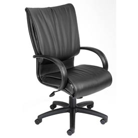 Boss Office Chair with Arms - Leather - High Back - Black