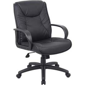 Boss Executive Office Chair - Leather - Mid Back - Black