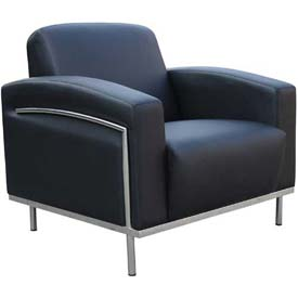 Boss Reception Lounge Chair with Arms -Vinyl - Black