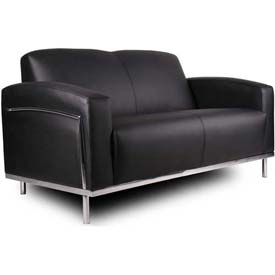 Boss Reception Loveseat with Arms -Vinyl - Black