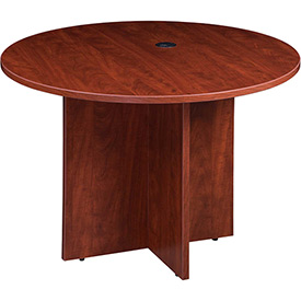 "Boss 42"" Round Conference Table, Cherry"