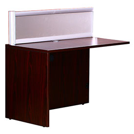 "Boss 36""W Reception Desk Return with Window - Mahogany"