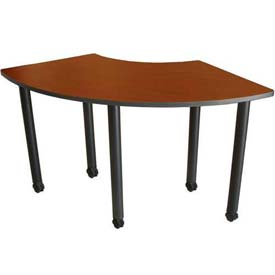 "Boss 59"" x 24"" Crescent Training Table with Casters, Cherry"