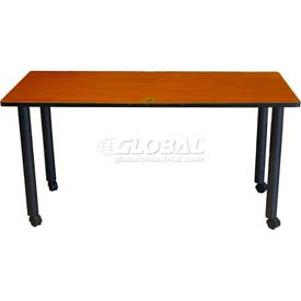 """Boss 60"""" x 24"""" Rectangular Training Table with Casters, Cherry"""