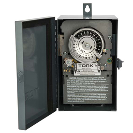 NSI TORK® 7200 24 Hour Skip A Day Time Switch, 40A, 120V, DPST, Indoor Metal Enclosure
