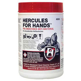 "Hercules 45333 Hercules For Hands - Pre-Moistened Towels 70 Towels Per Tub 12"" x 10"" - Pkg Qty 6"