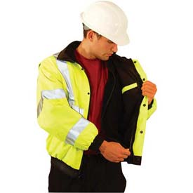 Premium Black Bottom Bomber Jacket, Hi-Vis Yellow, 6XL