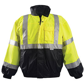 Premium Black Bottom Bomber Jacket, Hi-Vis Yellow, XL
