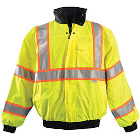 Premium Two-Tone Bomber Jacket, Hi-Vis Yellow, S