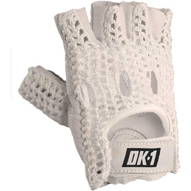 OccuNomix Classic Knuckle Lifters Half-finger Gloves, Full-Grain Leather, White, S, 1 Pair