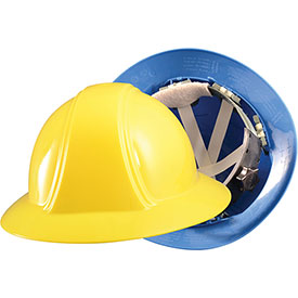 Vulcan Full Brim Hardhat With Ratchet Suspension, Blue by