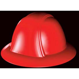 Vulcan Full Brim Hardhat With Ratchet Suspension, Red by
