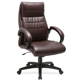 Lorell Deluxe High-Back Leather Chair Brown by
