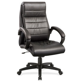 Lorell Deluxe High-Back Leather Chair Black by