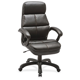 Lorell Luxury High-Back Bonded Leather Chair Black by