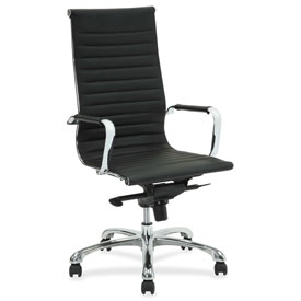 Lorell Modern Chair Series High-Back Leather Chair Black by