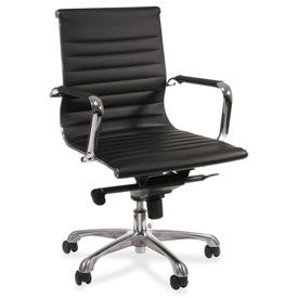 Lorell Modern Chair Series Mid-Back Leather Chair Black by