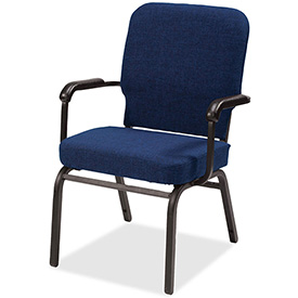 Lorell® Fixed Arms Fabric Oversized Stack Chairs - Navy - 2/Pack