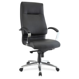 Lorell Modern Executive High-Back Leather Chair Black by