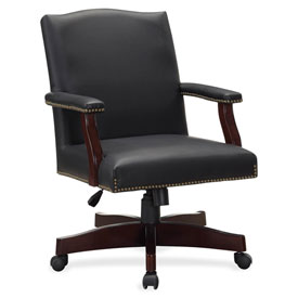 Lorell Traditional Executive Bonded Leather Chair Black by