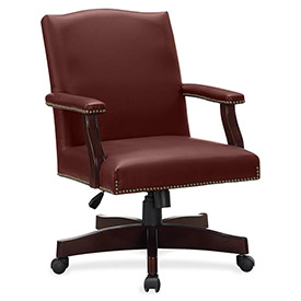 Lorell Traditional Executive Bonded Leather Chair Burgundy by