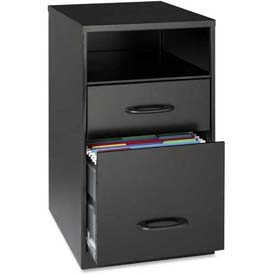 "Lorell® 18"" Deep 2-Drawer Cabinet With Shelf, Black"