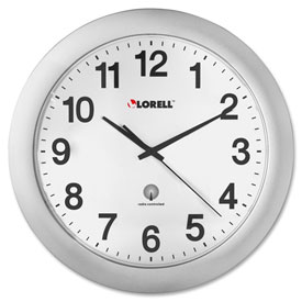 """Lorell® 12"""" Round Radio Controlled Wall Clock, Plastic Case, Silver"""
