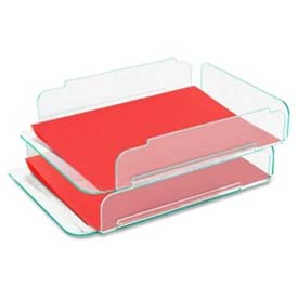Lorell® Acrylic Stacking Letter Trays, Green, 2/Pack