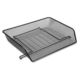 Lorell® Side-Loading Mesh Letter Trays, Black, 2/Pack