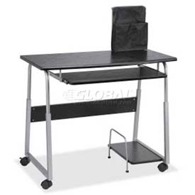 Lorell Laminate Mobile Computer Desk, Black/Silver by