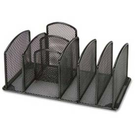 Lorell® Deluxe Mesh Desktop Organizer, 3 Compartments, Black