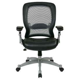 Office Star Space 3000 Professional Air Grid Mesh Back Managerial Mid-Back Chair - Black
